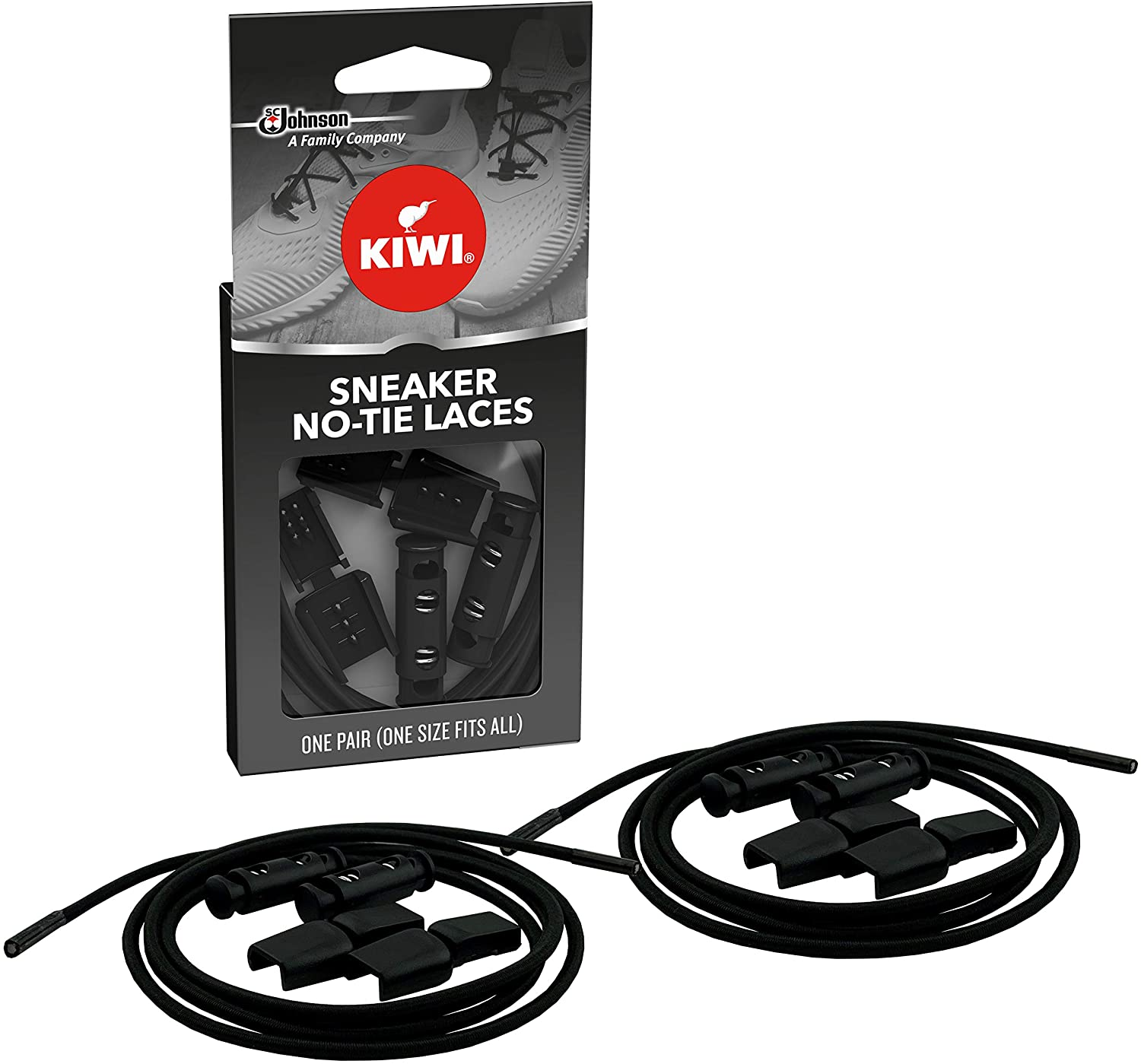 KIWI Sneaker No-Tie Shoe Laces, Black, One Size Fits All, 1 Pair : Clothing, Shoes & Jewelry
