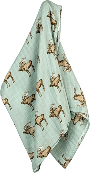 MilkBarn Bamboo And Cotton Swaddle Bow Tie Moose