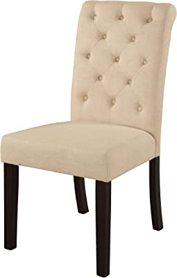 Acme Furniture Vriel Beige Fabric and Black Dining Chair (Set of 2)