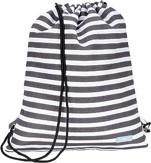 Old School Drawstring Backpack, Lightweight Nylon Drawstring Bookbag with Exterior Pocket (Multiple Patterns Available)