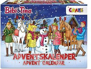 CRAZE Kalendarz adwentowy BIBI I TINA zabawkowy kalendarz dla dziewczynek B&T kalendarz bożonarodzeniowy 2021 figurki do z...