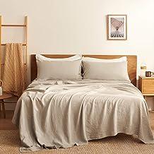 Bedsure Linen Sheets Set California King Size - 100% Linen Bed Sheets Deep Pocket Sheets, Breathable Bedding Set, Washed F...