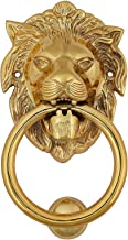Fine Craft India Lion Head Brass Door Knocker Gold Color Height: 7 Inches (with Striker)
