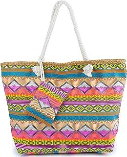 Bolsa de Playa de Lona Mujer Grande Bolso de Mano Shopper Bolsa con Cremallera