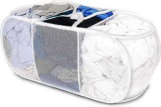 Smart Design Deluxe Mesh Pop Up 3 Compartment Laundry Sorter Hamper Basket - VentilAir Fabric Collapsible Design - for Clo...