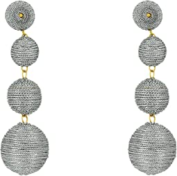 Kenneth Jay Lane 3 Metallic Silver Thread Small To Large Wrapped Ball Clip Earrings w/ Dome Top