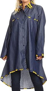 Sakkas Aana Womens Casual Ankara African Denim Chambray Shirt Dress Long Sleeve