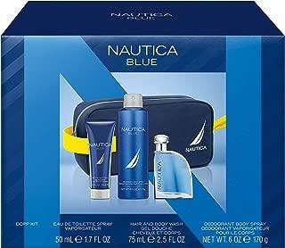 Nautica Blue 4Piece Gift Set With 1.7 Oz Eau De Toilette, 2.5 Oz Hair & Body Wash, 6 Oz Body Spray, Toiletry Bag - Total Retail Value $49