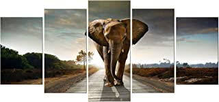 Wieco Art Elephant Canvas Prints Wall Art Animals Pictures to Photo Paintings Decor for..