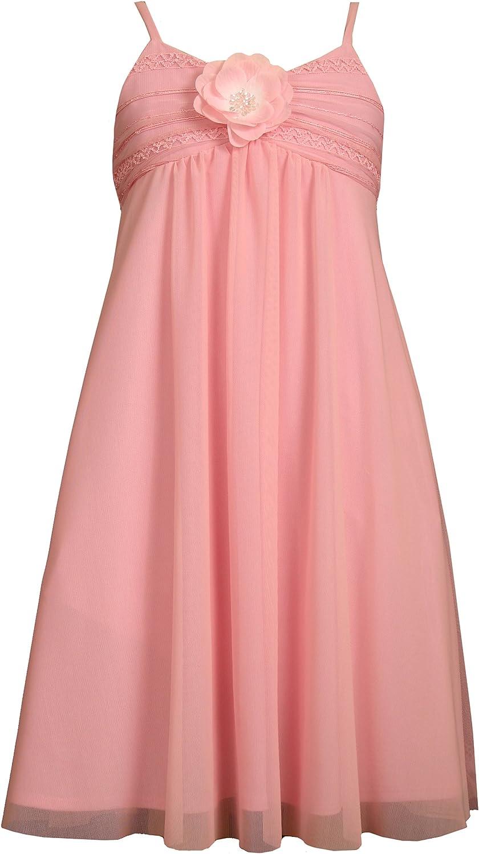Bonnie Jean Big Girls' Sleeveless Pink Mesh Dress