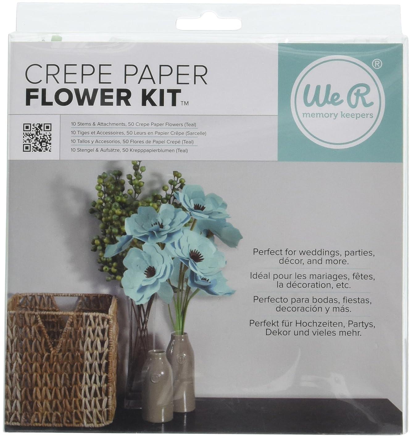 We R Memory Keepers Crepe Paper Flowers Teal deedtffiutr079