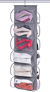 KEETDY 12 Large Clear Pockets Hanging Shoe Organizer Fabric Dual Sided Shoe Holder Rack for Closet Shelves with Roating Ha...