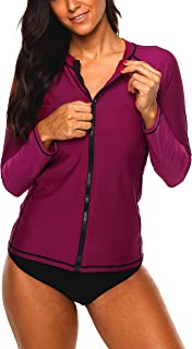 ATTRACO Ladies Rash Guard Shirt Sun Peotect Zipper Long Sleeve Swim Shirt XXL