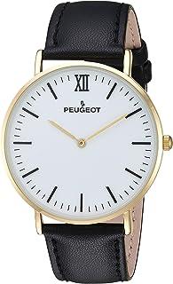 Peugeot Super Slim 14K Gold Plated Black Genuine Leather Band Sheffield Watch 2050G