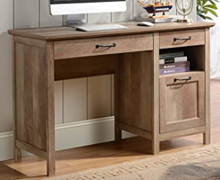 HOMESTAR Bianca 3 Drawer Single Pedestal Desk in Reclaimed Wood Finish