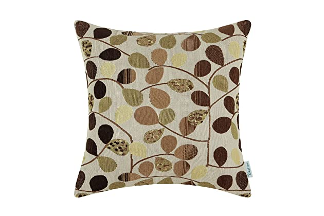Attractive CaliTime Cushion Cover Throw Pillow Case Shell For Couch Sofa Home  Decoration Luxury Chenille Cute Leaves Both Sides 18 X 18 Inches Ecru Brown