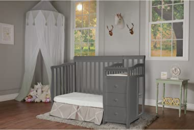Dream On Me Jayden 4-in-1 Mini Convertible Crib And Changer in Storm Grey, Greenguard Gold Certified