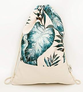 Traveller´s Garden Turnbeutel für Damen wasserabweisend & elegant - Sportbeutel, Rucksack mit Innentasche aus Canvas-Baumwolle und vegan Leder, Gym Bag, Palmen Muster