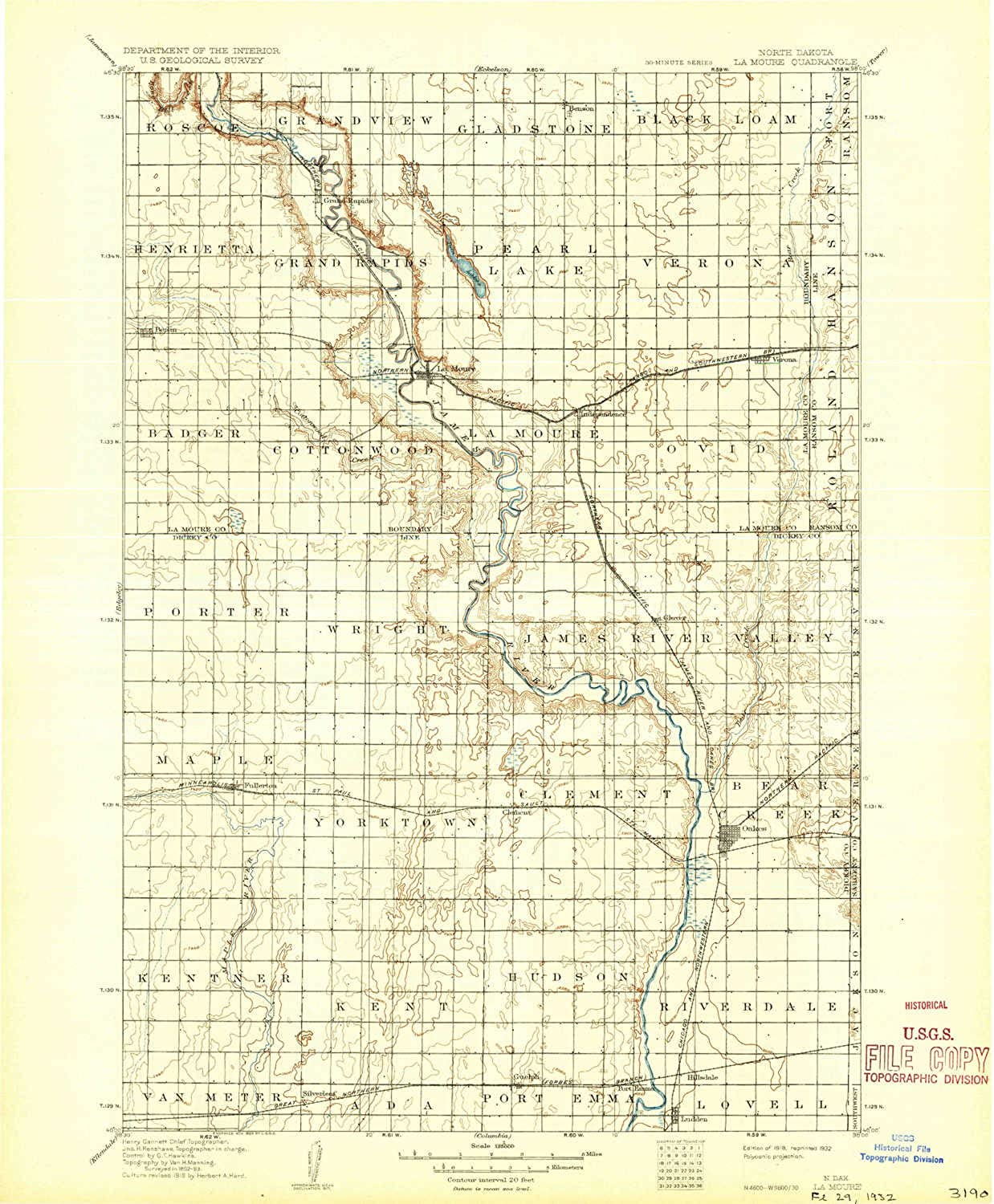 La Moure ND topo map, 1 125000 Scale, 30 X 30 Minute, Historical, 1918, Updated 1932, 19.9 x 16.5 in