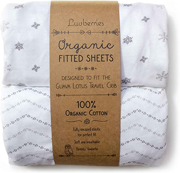 Guava Lotus Travel Crib Sheets Set Of 2 100 Organic Cotton Crib Sheets Baby And Toddler Fitted Crib Sheets For Boys Girls For The New 4 TAB Mattress ONLY