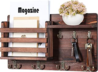 Mail Holder for Wall – Mail Organizer with Key Hooks for Hallway Kitchen Farmhouse Decor – Letter Sorter Made of Natural P...