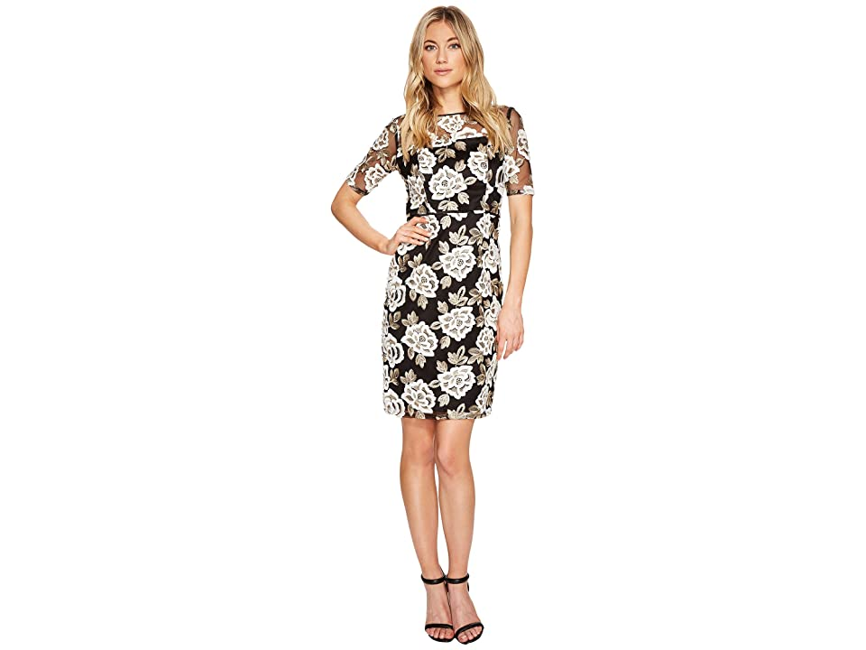 Adrianna Papell Embroidered Sheath Dress (Ivory/Gold) Women's Dress