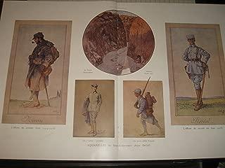 1916 WW1 Print: Aquarelles du Sous-Lieutenant by Jean Droit - French Uniforms WW1