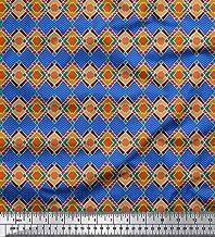 Soimoi Blue Rayon Fabric Diamond & Chevron Geometric Printed Craft Fabric BTY 56 Inch Wide