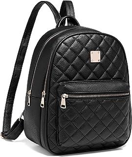 Myhozee Rucksack Damen Leder PU Daypack Klein Elegant Rucksack Tagesrucksack für Mädchen, Schwarz
