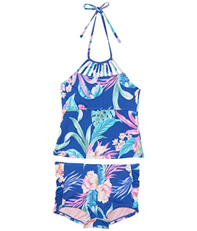 Hobie Kids Island Floral Strappy High Neck Tankini with Boyshorts (Big Kid) (Multi) Girl