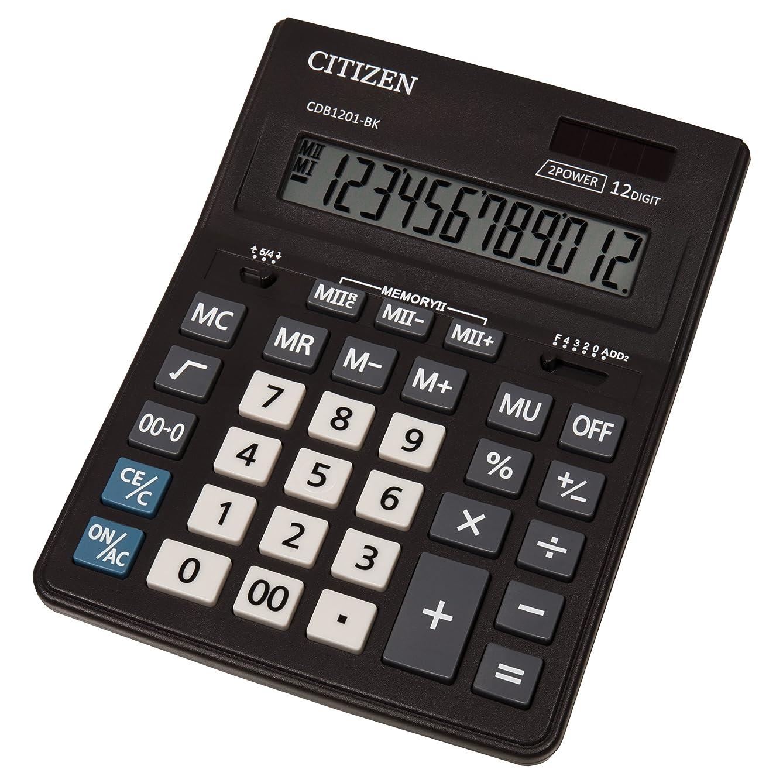 富豪前リズミカルなシチズンCDB 1201デスクトップ電卓 - ブラック