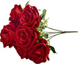 Fourwalls Large Blooming Artificial Velvet Rose Bouquet (45 cm, Red, 7 Branches)
