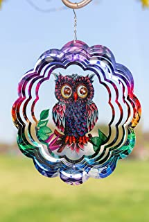 VP Home Kinetic 3D Metal Garden Wind Spinner (Mystical Owl)