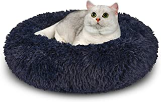 AIPERRO Pet Bed for Small Dogs and Cats Donut Cuddler Fur Round Dog Bed Soft Plush Fluffy Indoor Calming Cat Bed, Anti Slip Bottom, 20/23/30 Inch for Puppy and Kitties