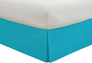 """Lux Hotel Bedding Tailored Bed Skirt, Classic 14"""" Drop Length, Pleated Styling, Twin, Turquoise"""
