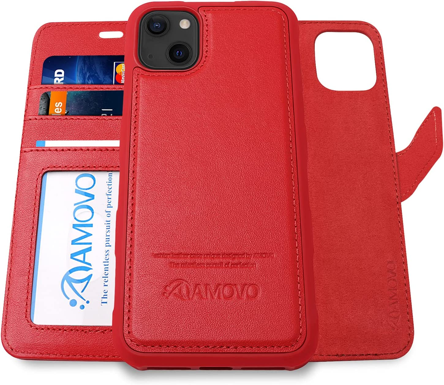 AMOVO Genuine Leather Case Compatible with iPhone 13 Case Wallet Magnets Detachable Wallet Case Leather Flip Phone Case [Wireless Charging][Wristband] for iPhone 13 (for iPhone 13, Real Leather Red)