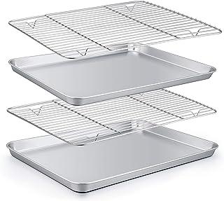 TeamFar Baking Sheet with Rack Set (2 Pans + 2 Racks), Stainless Steel Baking Pan Cookie Sheet with Cooling Rack, Non Toxic & Healthy, Easy Clean & Dishwasher Safe - 4 Pack