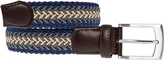 LUUK LIFESTYLE Cinturón trenzado, cinturón elástico, cinturón de tela con cuero auténtico, cinturones para hombres y mujer...