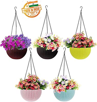 Generic Multicolor Beautiful Round Gamla Pot/Flower Hanging Pot for Garden Balcony (Multicolor, Pack of 5)