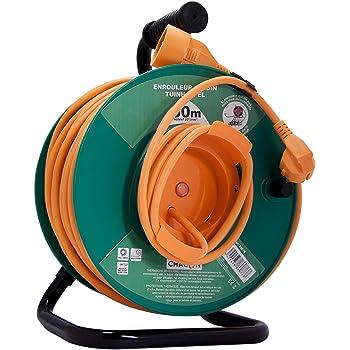 Chacon 89076 - Carrete alargador de cable para jardín, con seguridad térmica (1,5 mm x 50 m): Amazon.es: Bricolaje y herramientas
