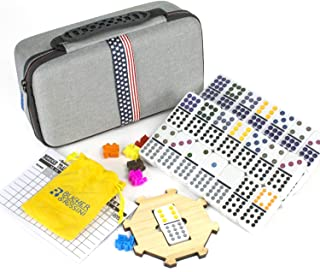 Double 12 Colored Dot Dominoes Mexican Train Game Set with Storage EVA Carry Case Druable and Crashproof