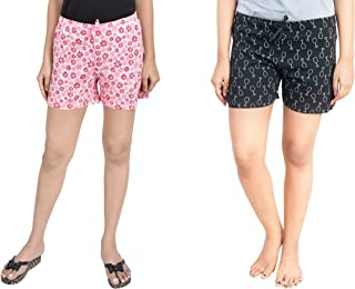 A9- Women Printed Pink, Black Shorts - Pack of 2