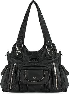 Satchel Handbag for Women, Ultra Soft Washed Vegan Leather Crossbody Bag, Shoulder Bag, Tote Purse, H1635