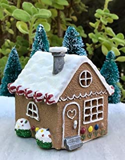 Adjore Miniature Fairy Garden Mini Christmas Light Up Gingerbread House Gnome Holiday ~ Best Outdoor Accessory
