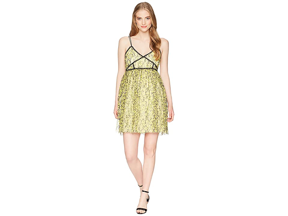 ROMEO & JULIET COUTURE Floral Lace Midi Dress (Yellow) Women