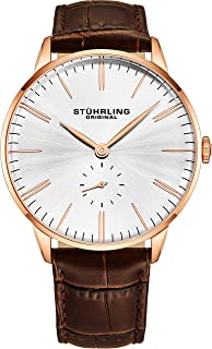 Stuhrling Men's Silver Dial Leather Band Watch - 849.05