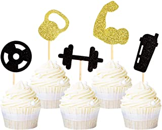 Ercadio 30 Pack Gym Workout Cupcake Toppers Glitter Biceps Dumbbells Kettlebells Abodominal Wheels Bodybuilding Cupcake Pi...