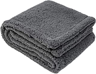 CHEE RAY Autumn Winter Extra Thick Washable Snugly Sherpa Fleece Bed Blanket for Dogs and Cats, Durable Warm Fluffy Throw fit Beds/Couch/Sofa/Kennel/Carrier Grey
