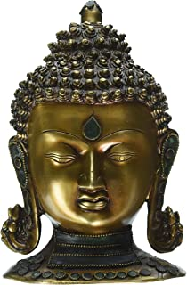 Antique Buddha Head Bust Statue - Coral Work -Tibet Tibetan Buddhism Shakyamuni Nepal Figurine Bodhi - Gift Birthday Anniv...
