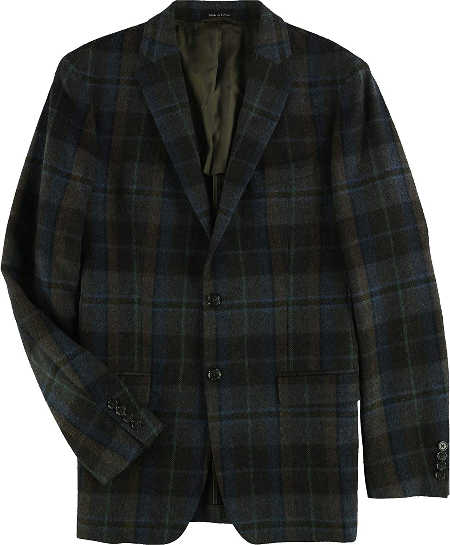 Ralph Lauren Mens Plaid Two Button Blazer Jacket, Brown, 40 Long